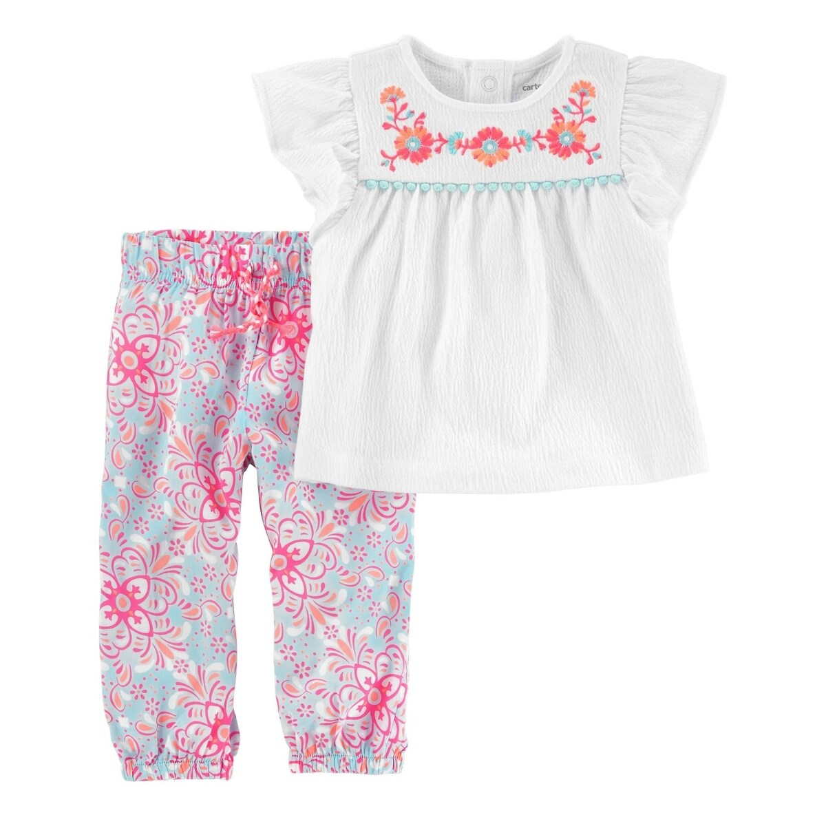 Shop Carter S Baby Girls 2 Piece Embroidered Top Floral Poplin