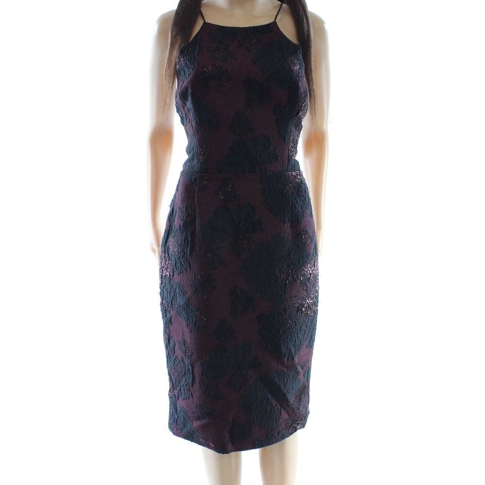 d79448a9 Shop Vera Wang NEW Purple Women's Size 10 Jacquard Halter Sheath Dress - Free  Shipping On Orders Over $45 - Overstock.com - 19269009