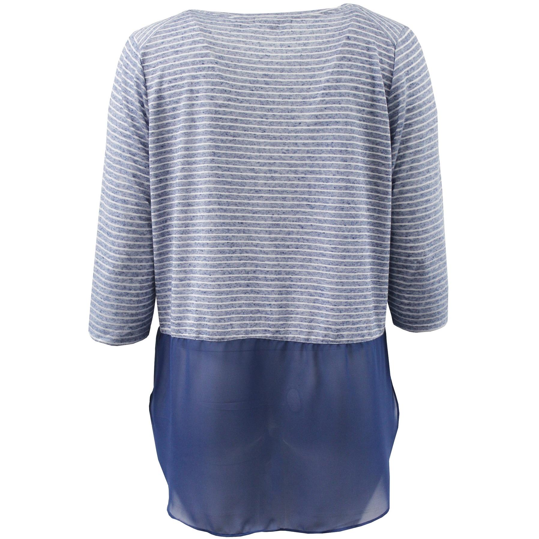 08e03f27 Women - Plus Size 3/4 Sleeve Striped Chiffon Bottom Top Blouse Knit Shirt  Blue White