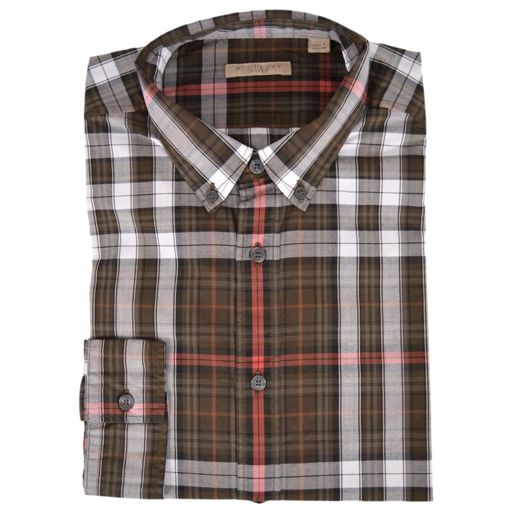 41383c2ef205 Shop Burberry Brit Men s Fred Khaki Nova Check Cotton Long Sleeve Shirt - S  - On Sale - Free Shipping Today - Overstock - 22543569
