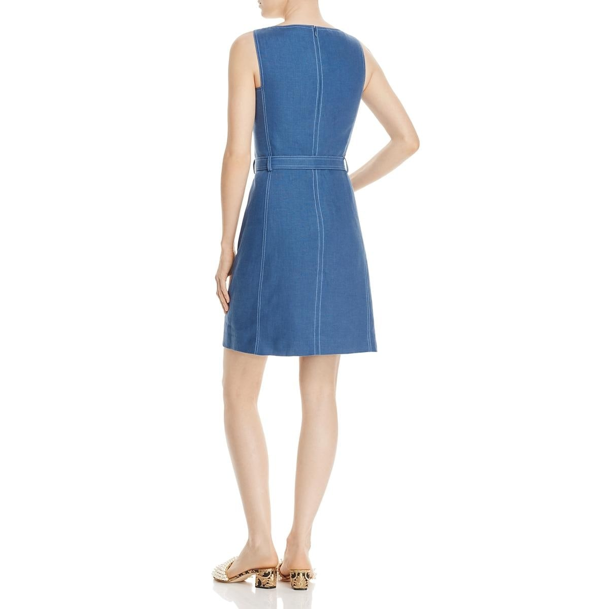bc99987426c Shop Tory Burch Womens Nadia Casual Dress Linen Belted - 14 - Free ...