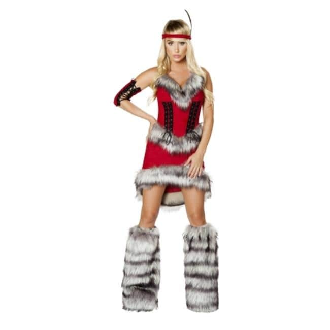 Shop 3 Piece Native American Babe Adult Costume Red Medium Free