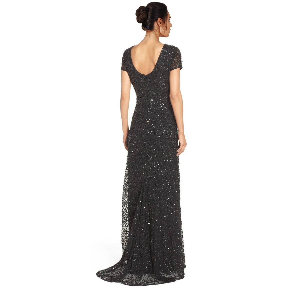 08463b2b5cb47 Shop Adrianna Papell Petite Sequined Scoop Back Short Sleeve Evening Gown  Dress - 2p - Free Shipping Today - Overstock - 19839047