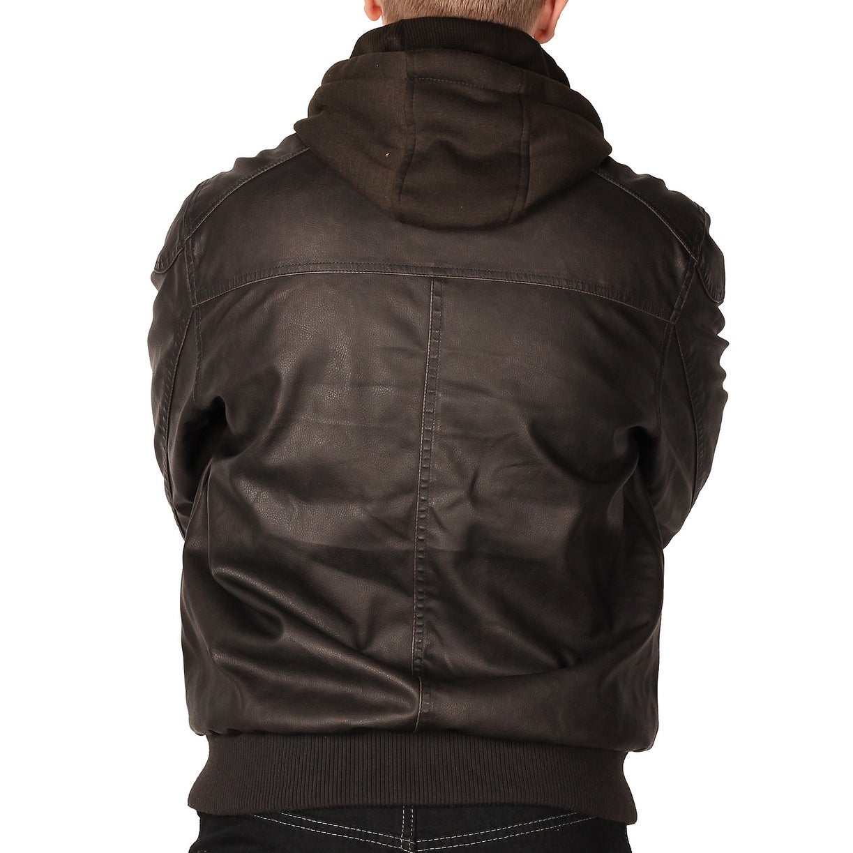 871f3e95687 Mens Leather Bomber Jacket With Hood