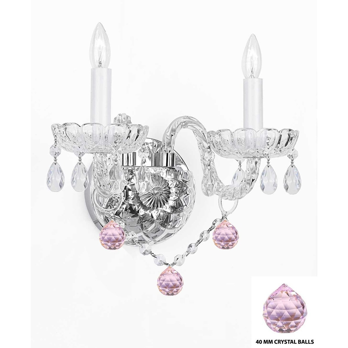 Crystal wall sconce chandelier lighting with pink crystal balls cl