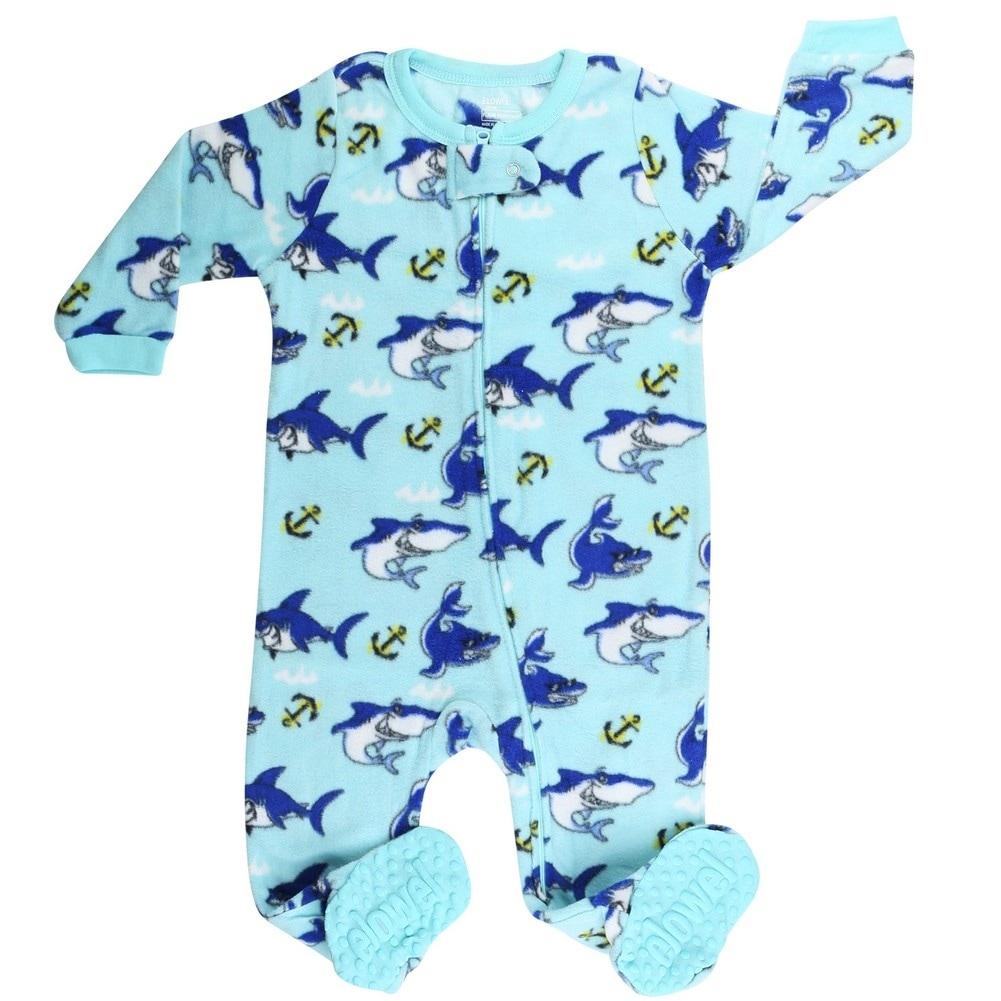 b2f4075ed Shop Elowel Little Boys Blue Shark Print Zipper Footed Fleece ...