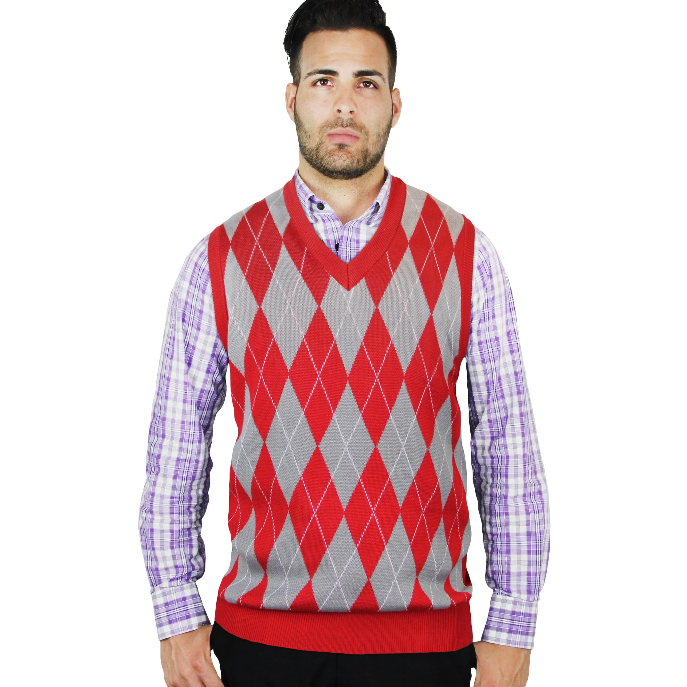 9594443ba Shop Men s Jacquard Argyle Sweater Vest (SV-245) - Free Shipping On ...