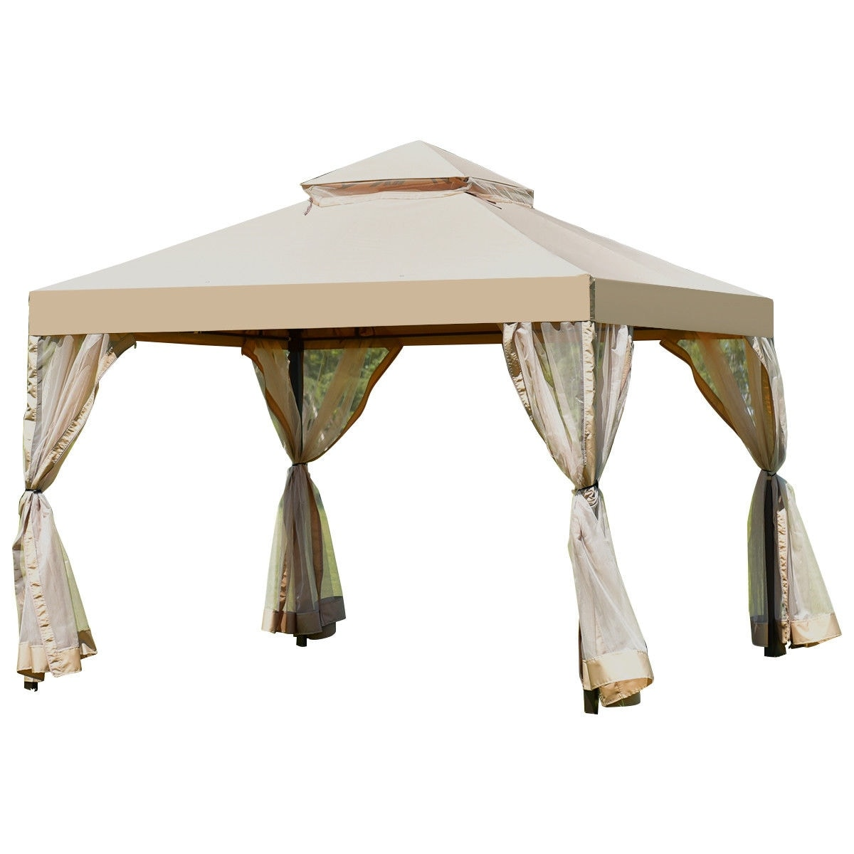 Costway Outdoor 2-Tier 10u0027x10u0027 Gazebo Canopy Shelter Awning Tent Patio Garden Brown - Free Shipping Today - Overstock.com - 24427186  sc 1 st  Overstock.com & Costway Outdoor 2-Tier 10u0027x10u0027 Gazebo Canopy Shelter Awning Tent ...