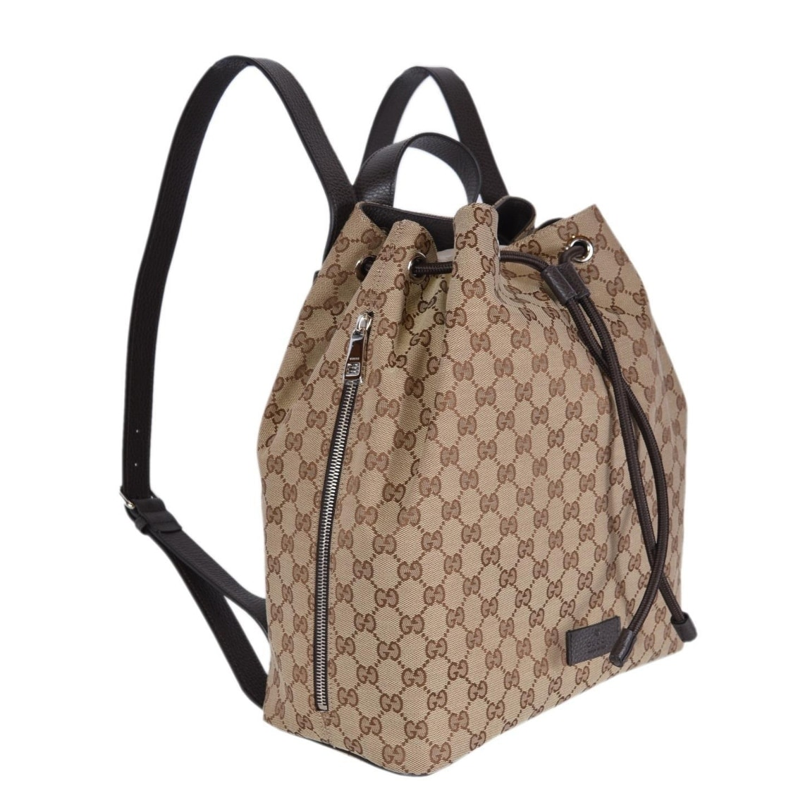 a6d86f36bb35 Shop Gucci 449175 Beige Canvas GG Guccissima Drawstring Backpack Rucksack  Bag - Beige/Brown - Free Shipping Today - Overstock - 22817017