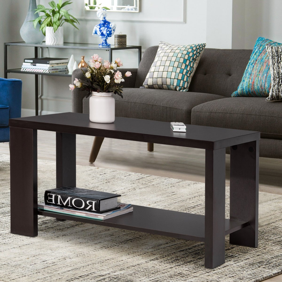 Gymax rectangular cocktail table coffee table living room furniture with storage shelf