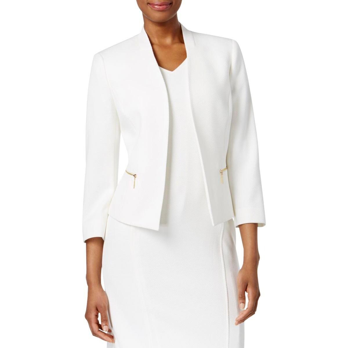 fa2b2387ddf74 Shop Kasper Womens Open-Front Blazer Textured Zip Pockets - Free Shipping  Today - Overstock.com - 22581553