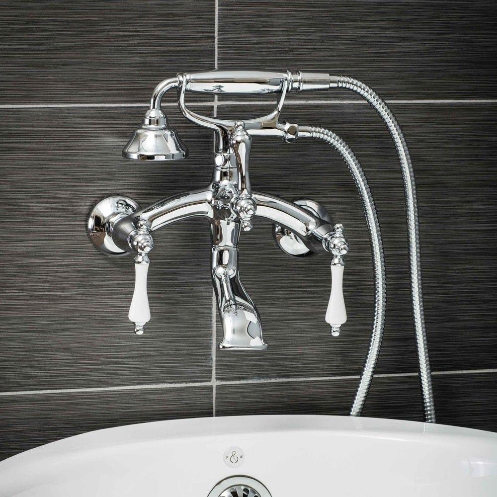 Pelham & White Luxury Tub Filler Faucet, Vintage Design, Wall Mount ...