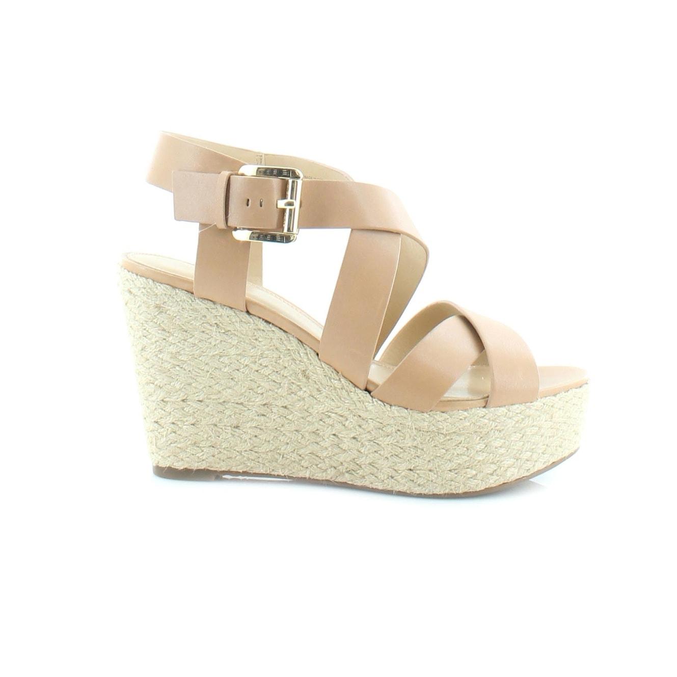 cf2c8caccf Shop MICHAEL Michael Kors Celia Wedge Women's Sandals & Flip Flops Suntan -  Free Shipping Today - Overstock - 18289164