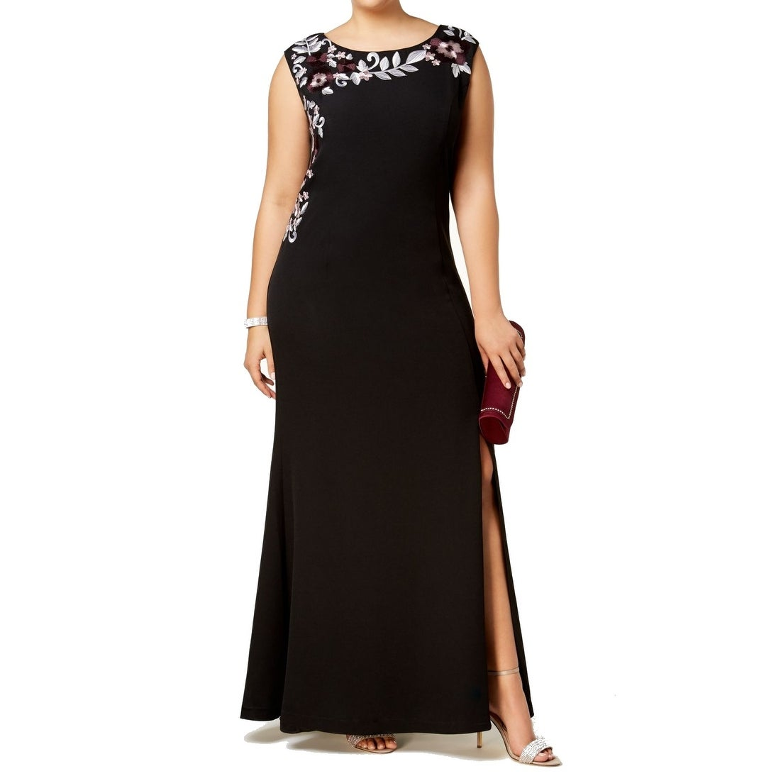 aed6cb8ccb2eb Shop SLNY Black Womens Size 14W Plus Embroidered Floral Gown Dress ...