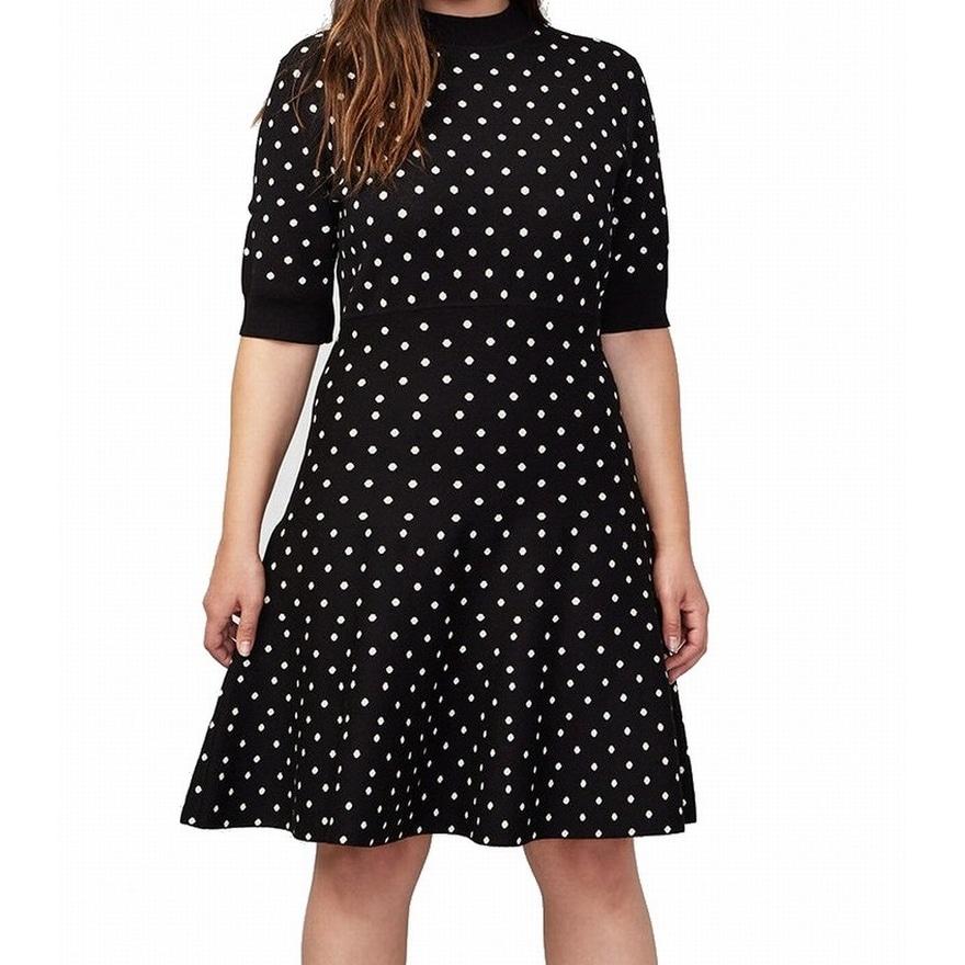 79c9e5dc5ac Shop Rachel Rachel Roy Black Polka Dot Women s 2X Plus Sweater Dress ...