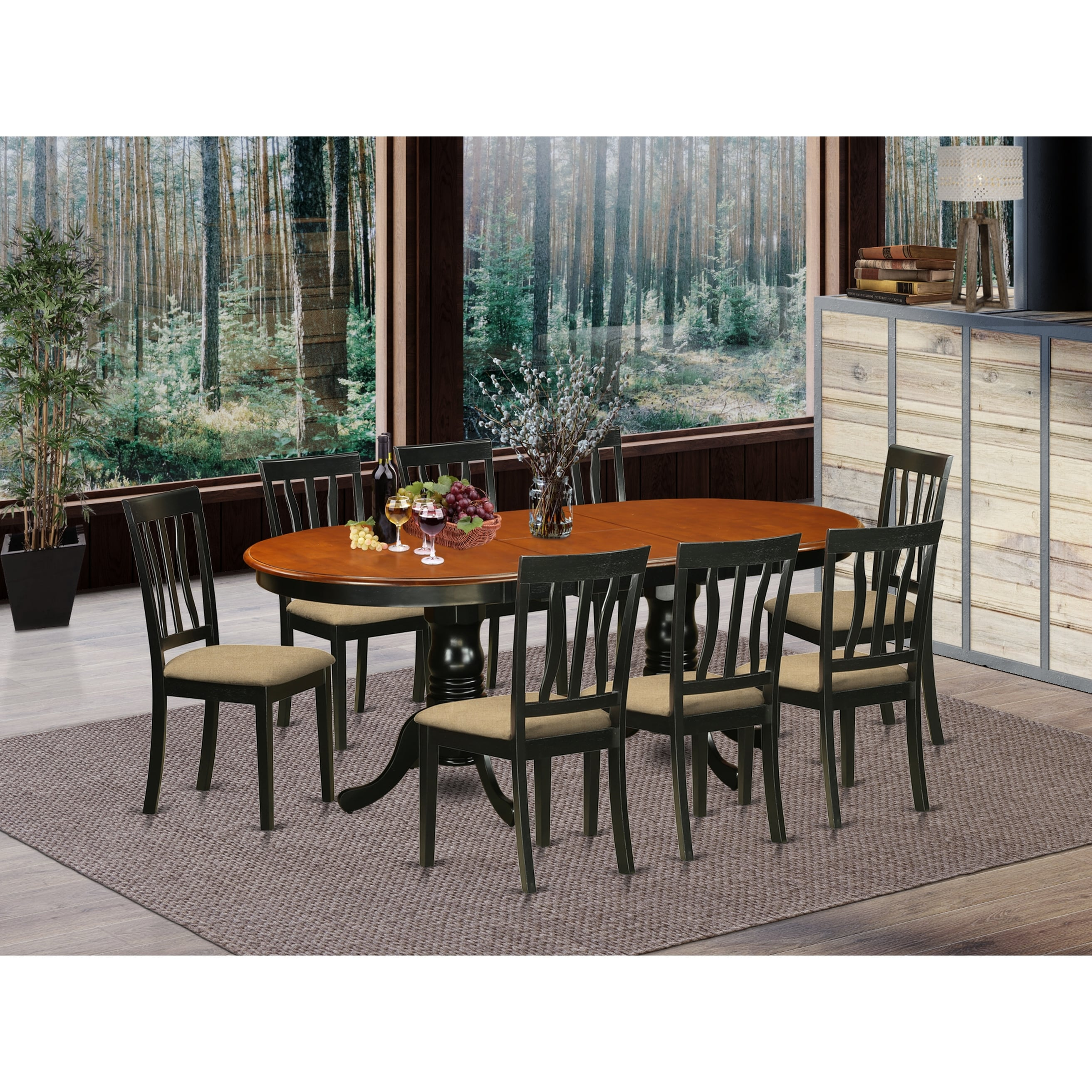 Dining Table With Leaf And 8 Dining Room Chairs In Black And Cherry Finish Overstock 11967726