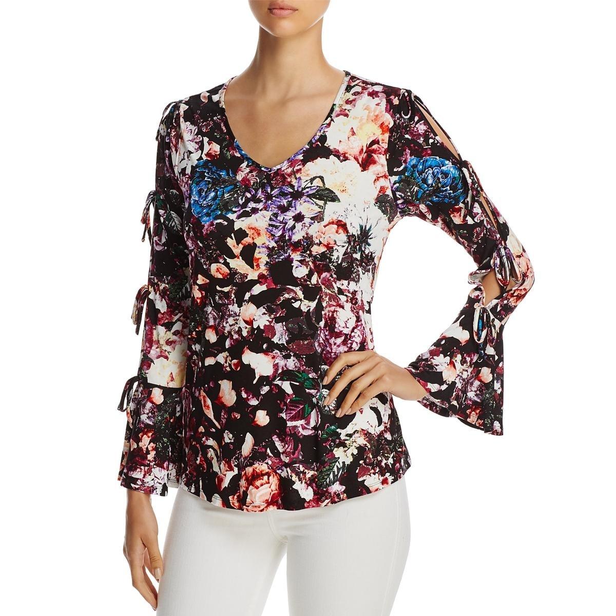 252d3ffd107 Shop Cupio Womens Casual Top Floral Print Cold Shoulder - Free ...