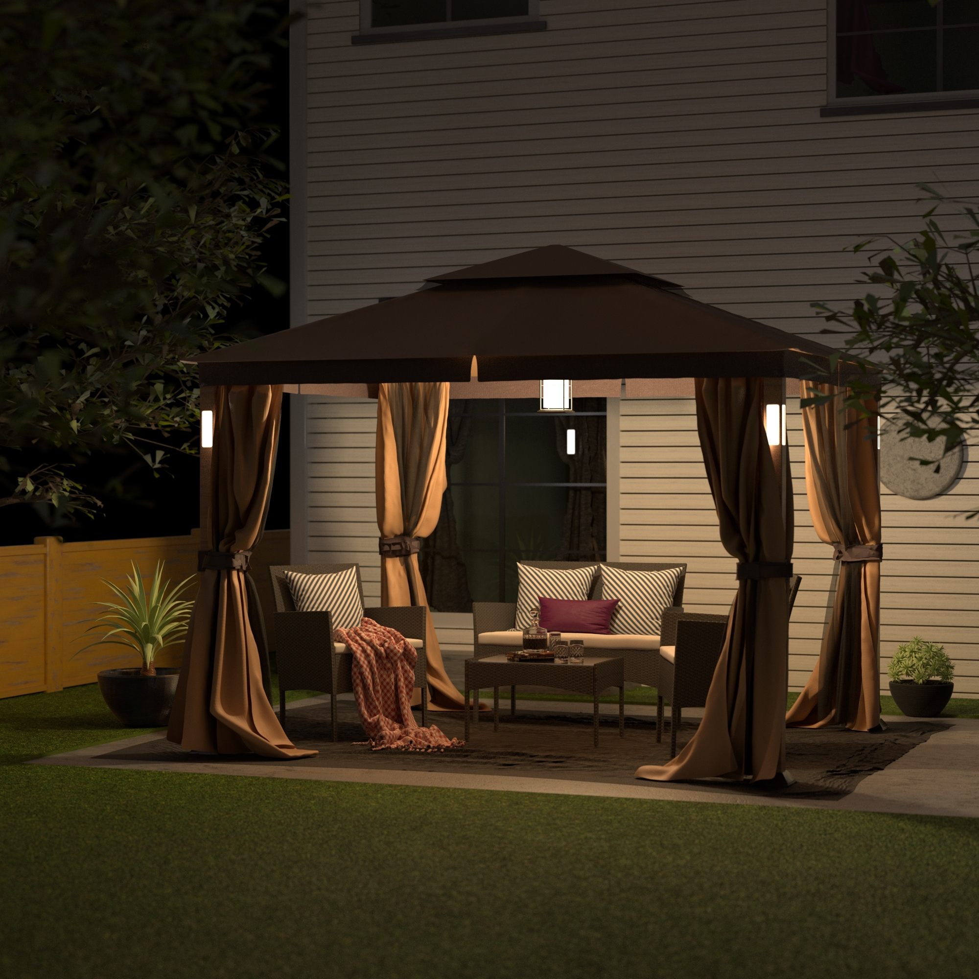 Luxuriously 10 X 12 Garden Gazebo Soft Top Outdoor Patio Gazebo Tent With Mosquito Netting Led Lights And Bluetooth Speakers On Sale Overstock 31633234