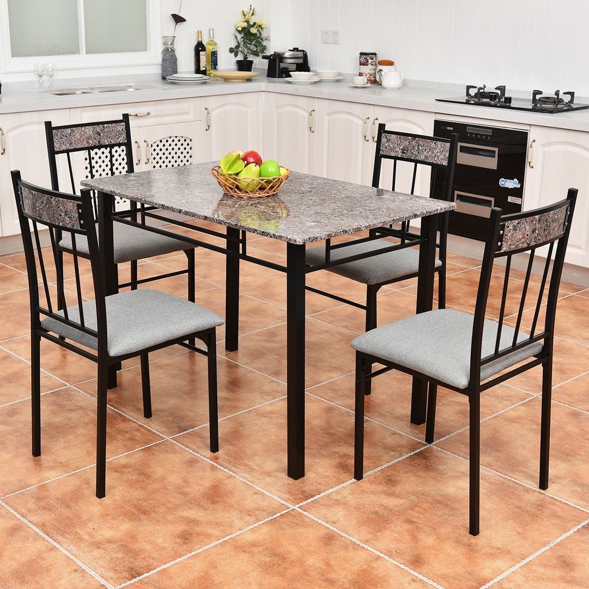 Shop costway 5 piece faux marble dining set table and 4 chairs kitchen breakfast furniture free shipping today overstock com 15869058
