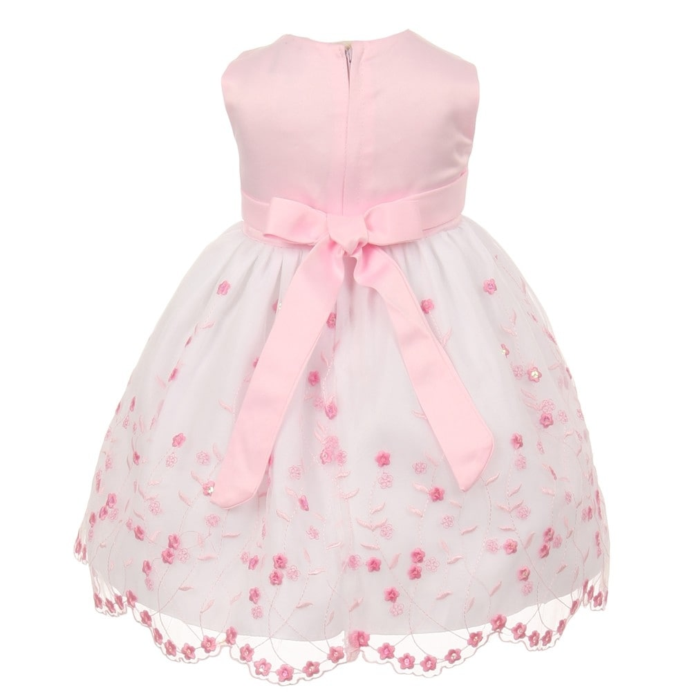 3de498597 Shop Baby Girls Pink White Floral Jeweled Easter Flower Girl Bubble ...