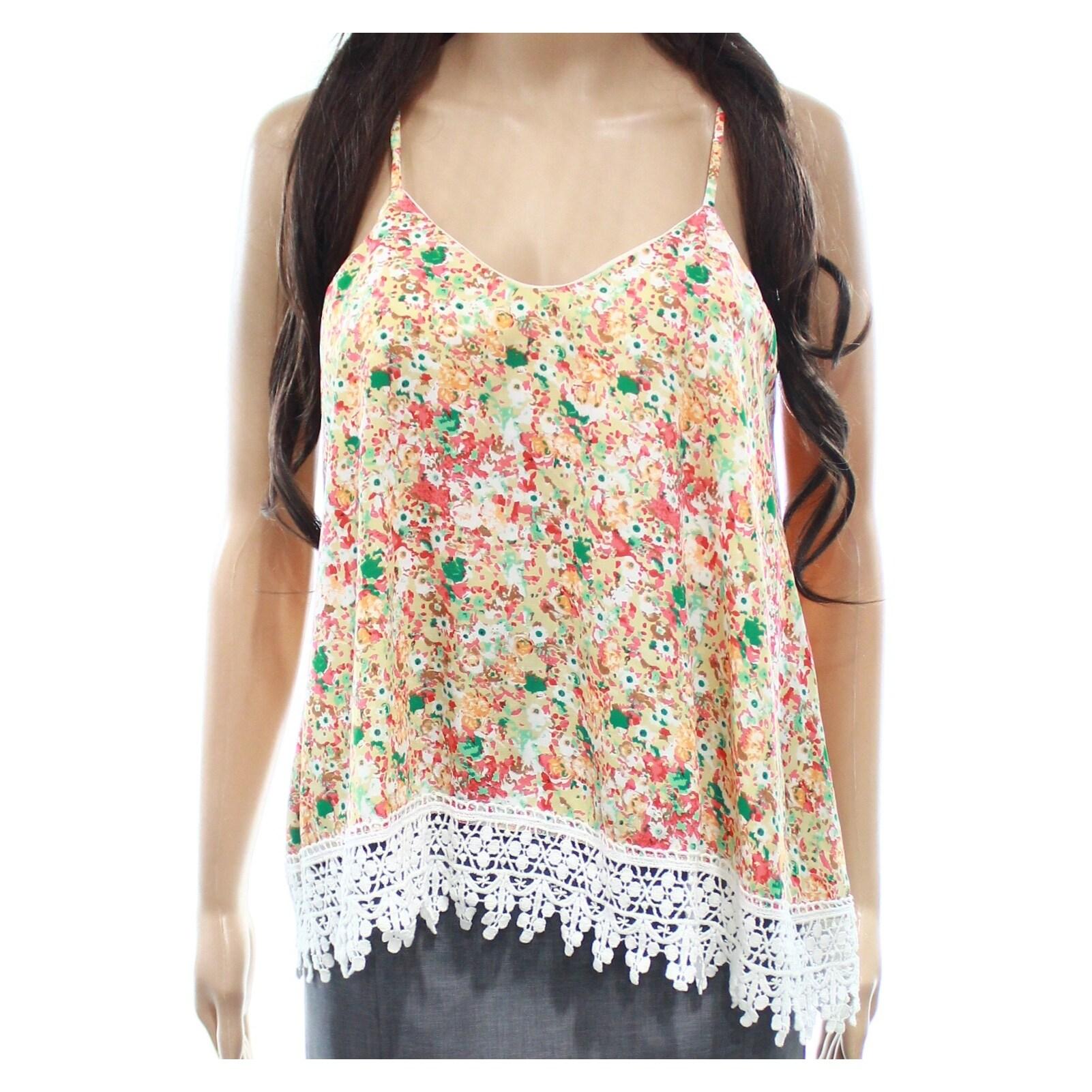 Shop Moa Moa New Orange Womens Size Small S Floral Crochet Hem Cami