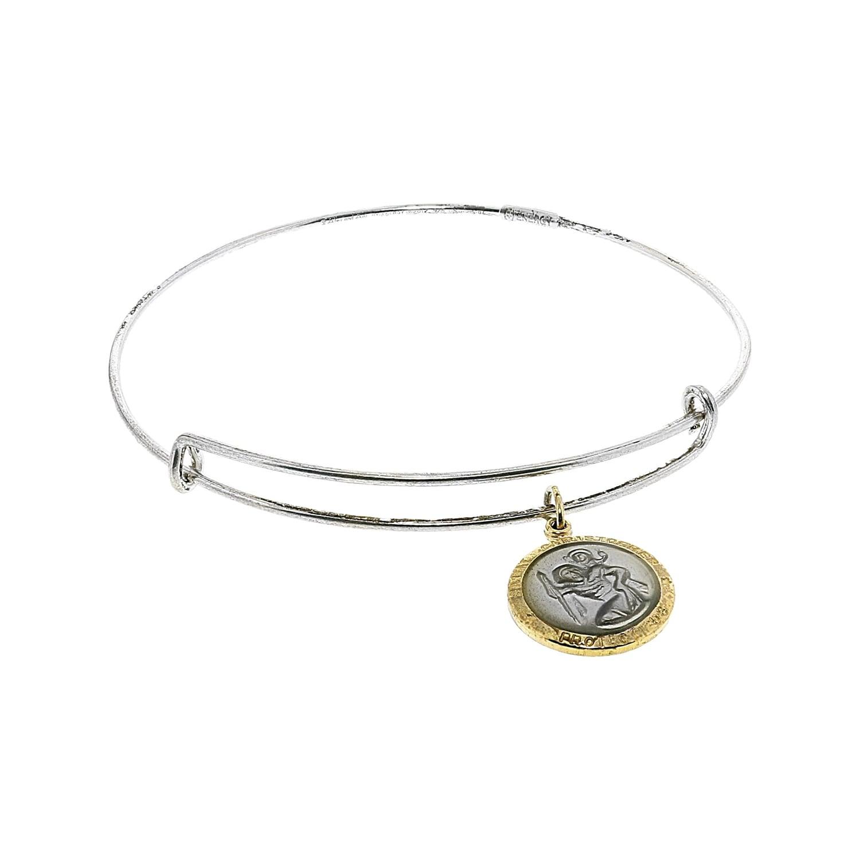 5ca497e3721 Shop Alex And Ani Women's White Enamel Saint Christopher Charm Bangle  Bangle Bracelet - 7