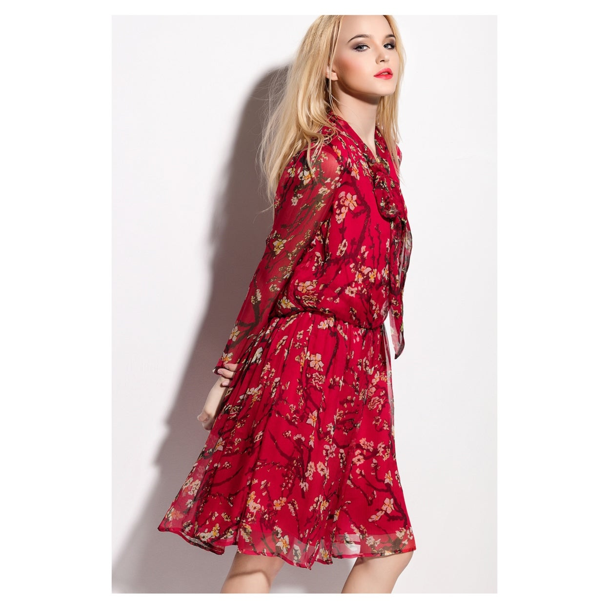 d6fa27abd2c4 Shop Red Floral Print Chiffon Overlay Knee Length Dress With Long Sleeves -  On Sale - Free Shipping Today - Overstock - 27073718