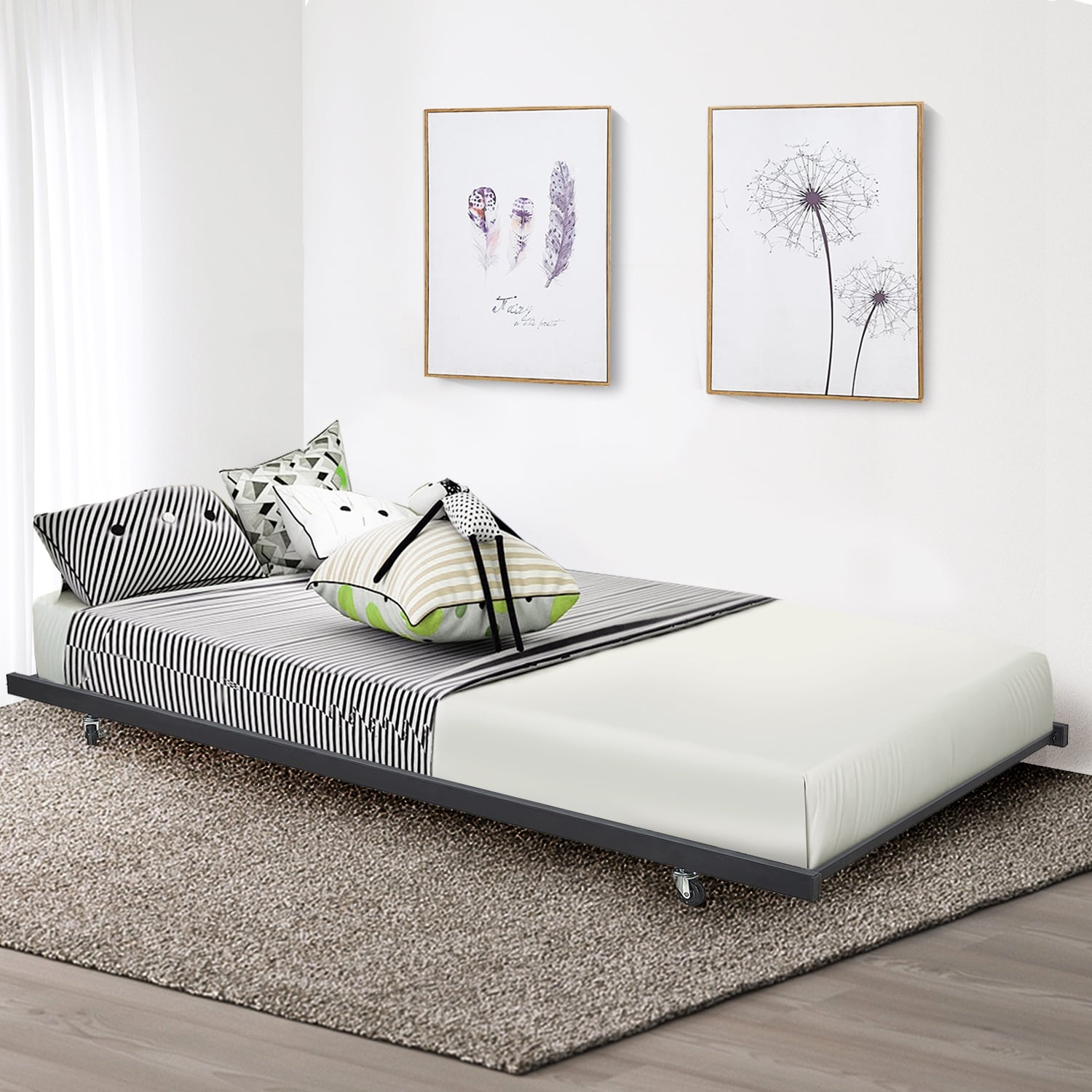Shop VECELO Kids Beds Metal Daybed Frames or Trundle Twin Size ...