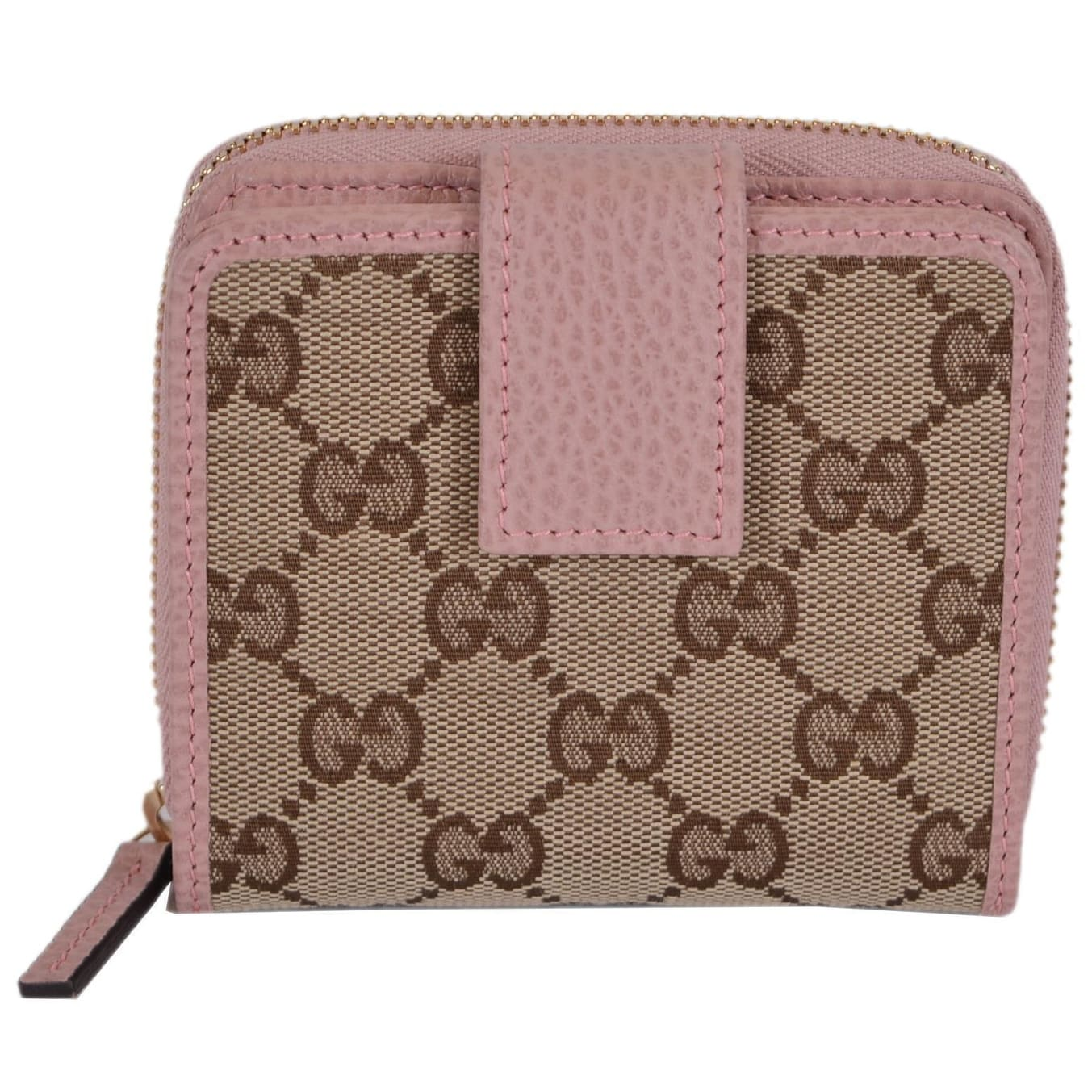 Shop Gucci Women\'s 346056 Beige Pink GG Guccissima French Zip Around ...