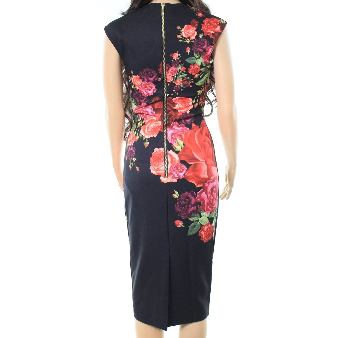 cdfcb5e89b64c Shop Ted Baker NEW Black Women Size 0 US 2 Juxtapose Rose Print Midi Dress  - Free Shipping Today - Overstock - 20269470