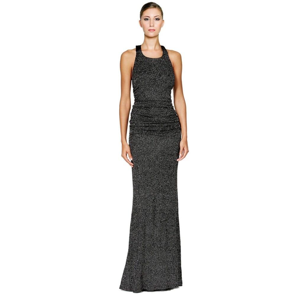 Shop Calvin Klein Glitter Halter Open Back Evening Gown Dress - 14 ...