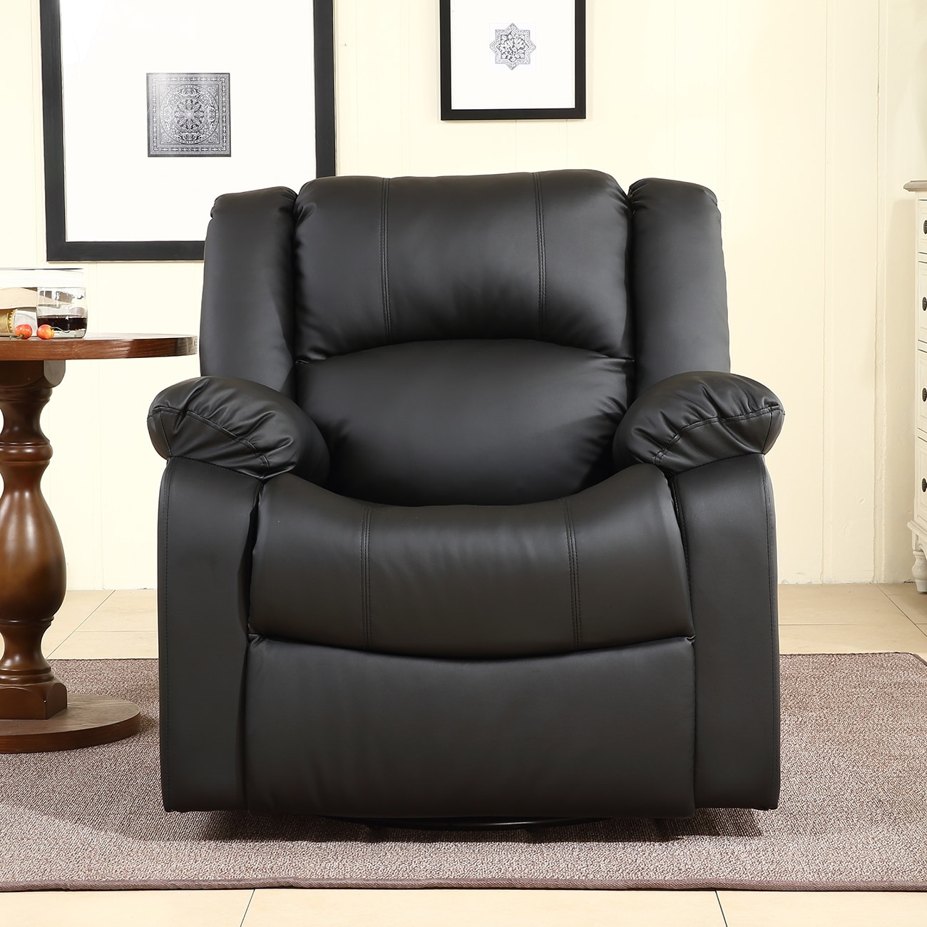 Charmant Shop Belleze Swivel Glider Rocker Recliner Chair Overstuffed Armrest And  Backrest Faux Leather, Black   Free Shipping Today   Overstock.com    17833256