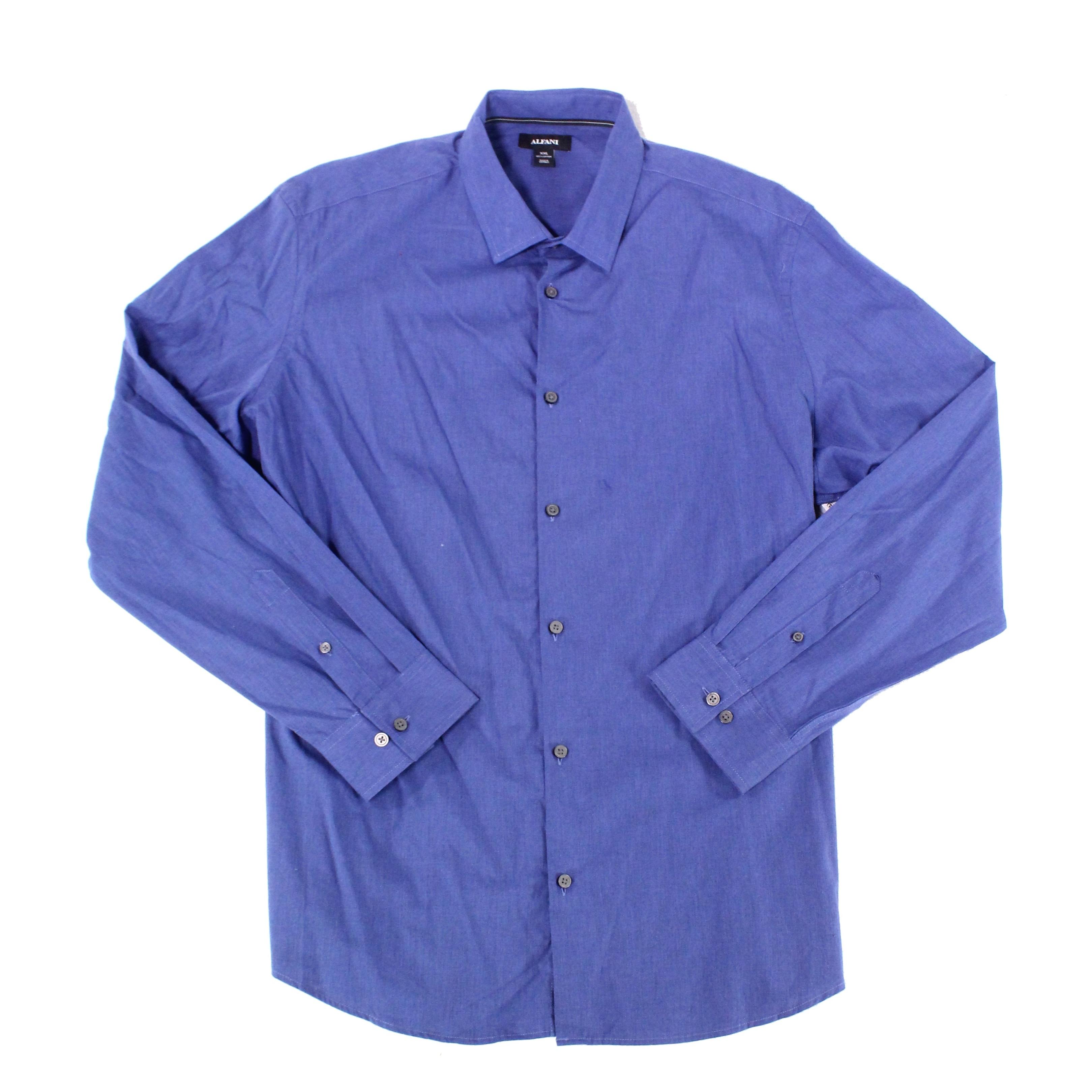 Alfani Midnight Blue Mens Size 2xl Button Down Long Sleeve Shirt