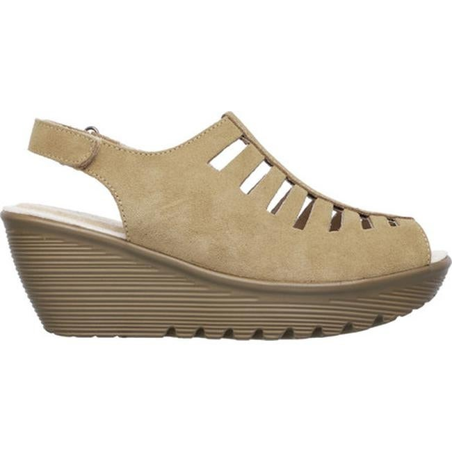 2f51157d719 Shop Skechers Women s Parallel Trapezoid Platform Wedge Sandal Dark Natural  - On Sale - Free Shipping On Orders Over  45 - Overstock - 14589780