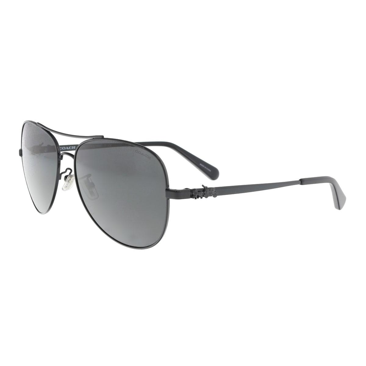 408ec5728743e Shop Coach HC7074 900387 Black Aviator Sunglasses - 59-15-140 - Free ...
