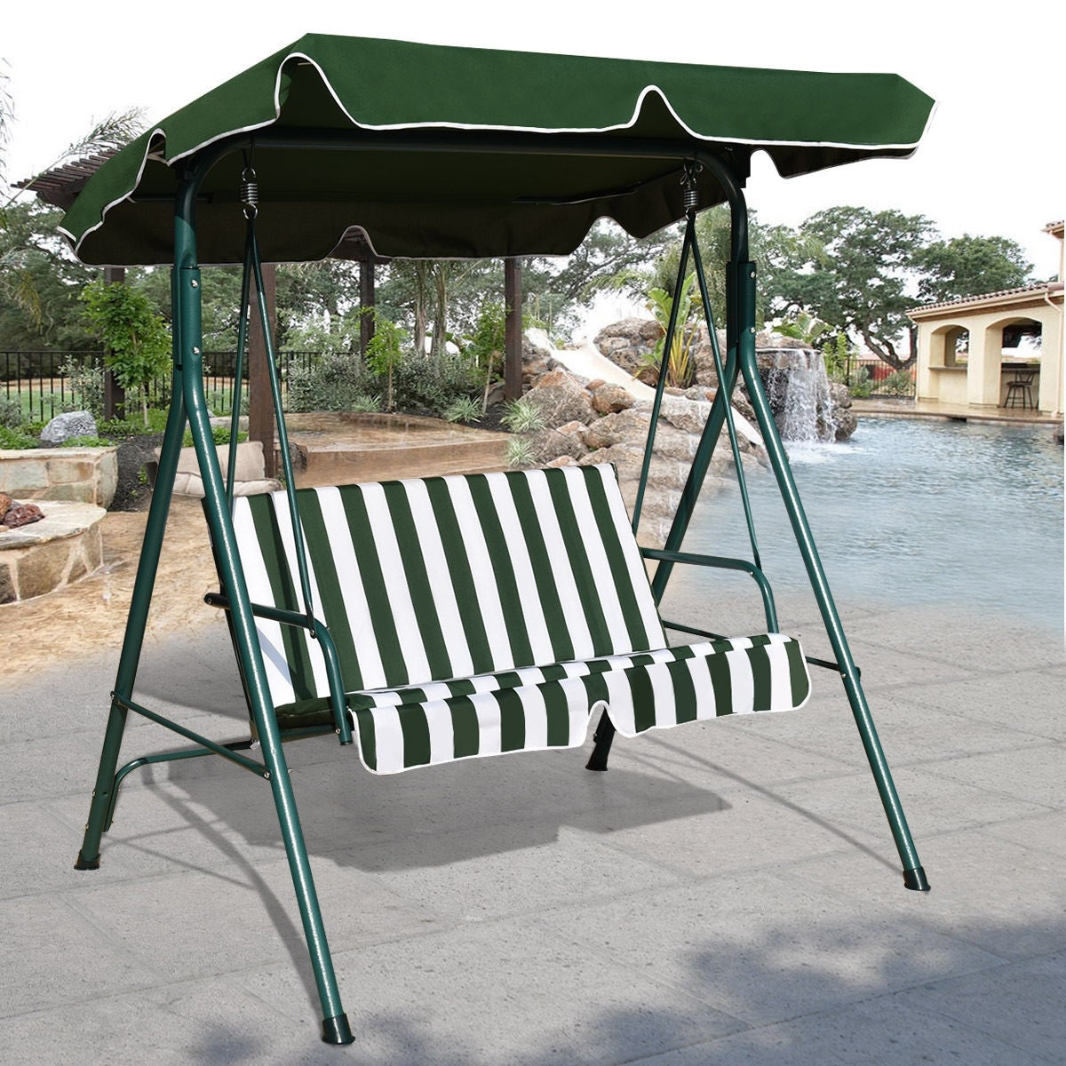 Costway Loveseat Patio Canopy Swing Glider Hammock Cushioned Steel Frame Outdoor Green