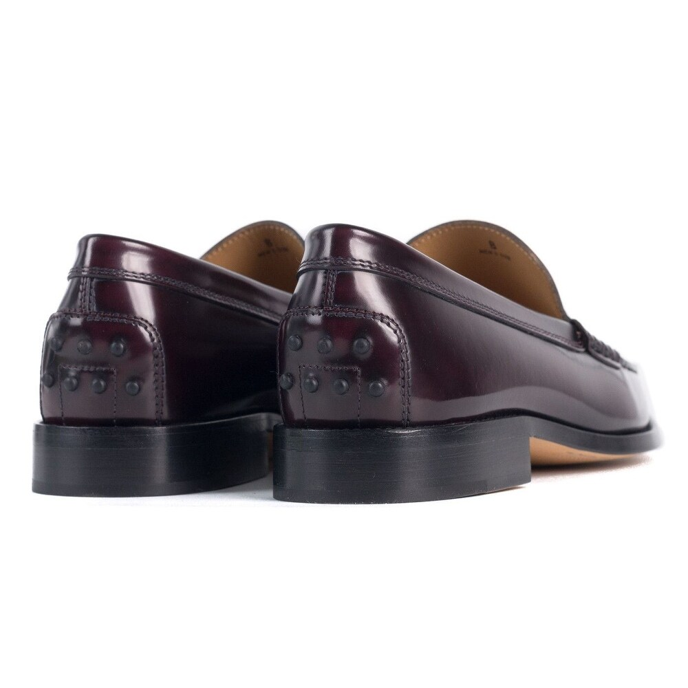 9f674ac9c01 Shop Tods Burgundy New Devon Polished Leather Penny Loafers - Free Shipping  Today - Overstock - 21391071