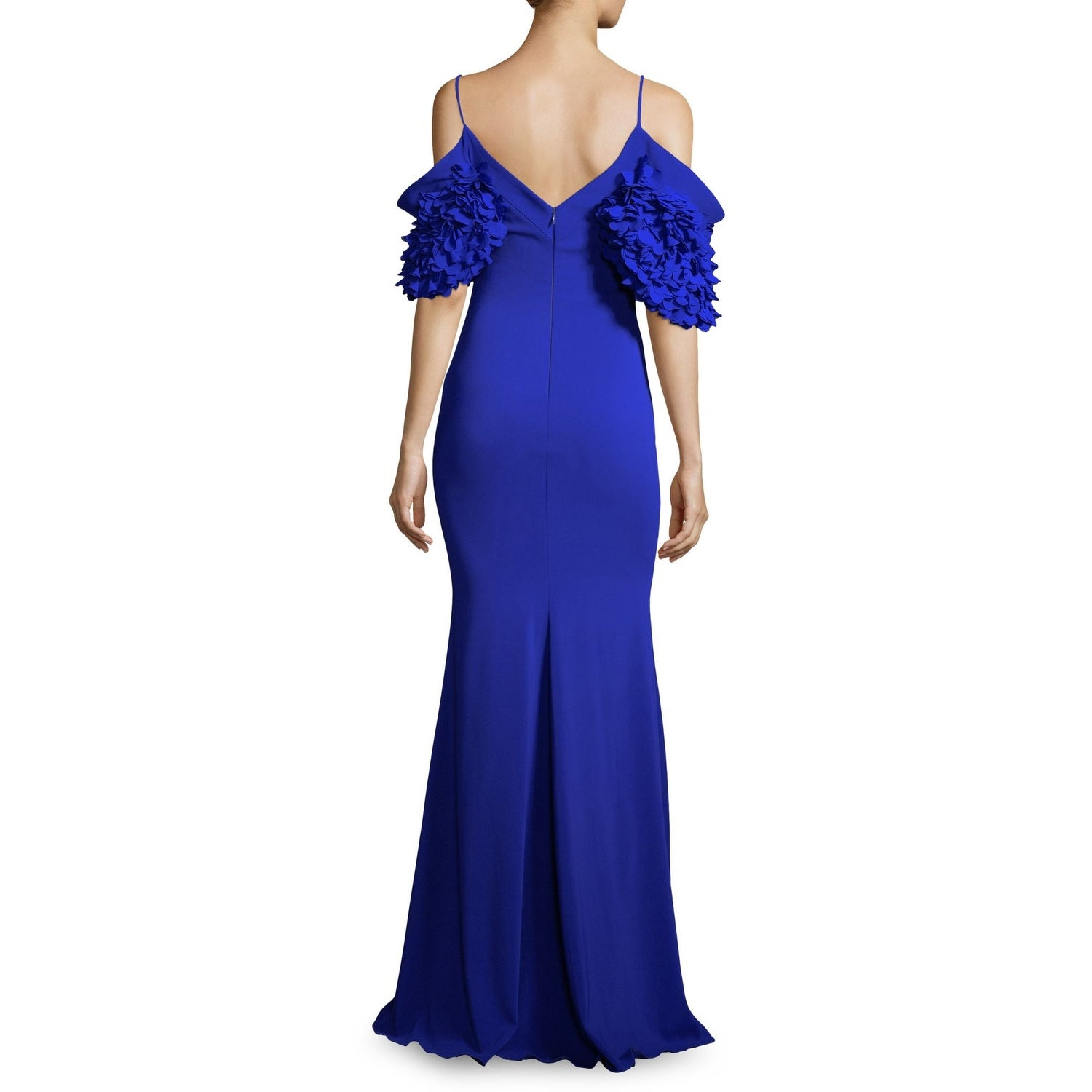 cfc4259646340 Shop Badgley Mischka Cold Shoulder Ruffle Sleeve Evening Gown Dress  Electric Blue - Free Shipping Today - Overstock - 25773179