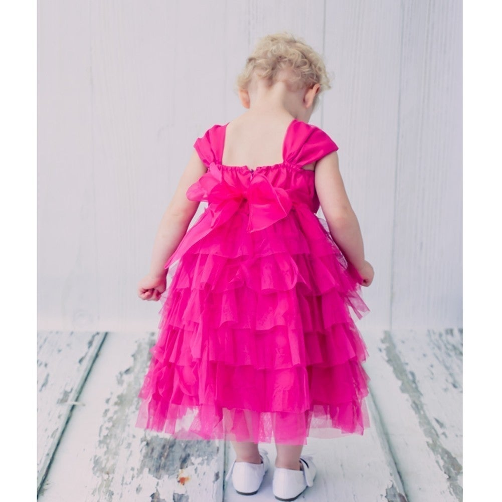 c86b82031 Shop Baby Girls Fuchsia Ruffle Tiered Rhinestone Flower Special Occasion  Dress - Free Shipping On Orders Over $45 - Overstock - 23087928
