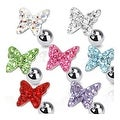 "Surgical Steel Tragus/Cartilage Barbell with Paved Butterfly Top - 16GA 1/4"" Long (Sold Ind.)"