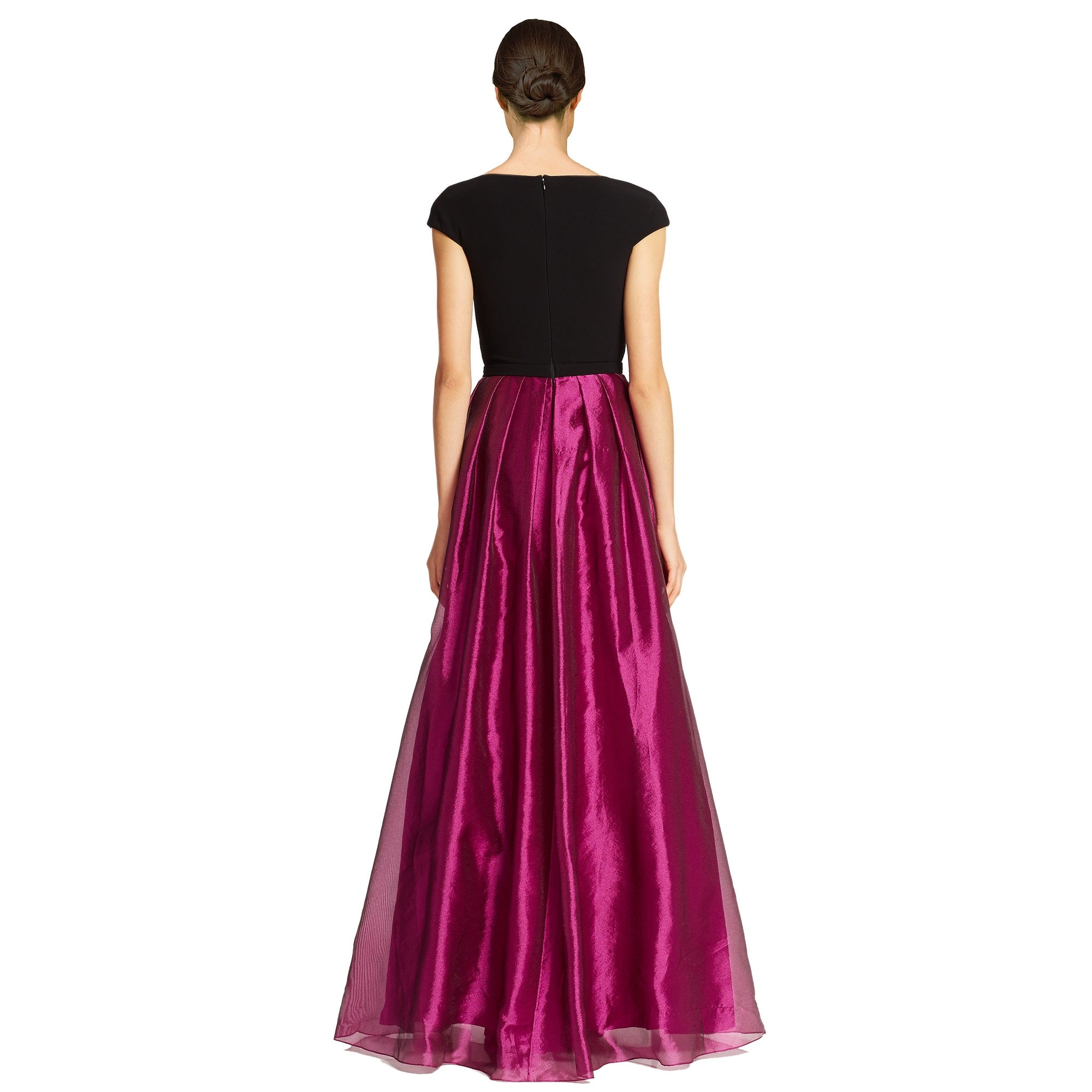 Shop Theia Colorblock Cap Sleeve V-Neck Evening Ball Gown Dress - 16 ...