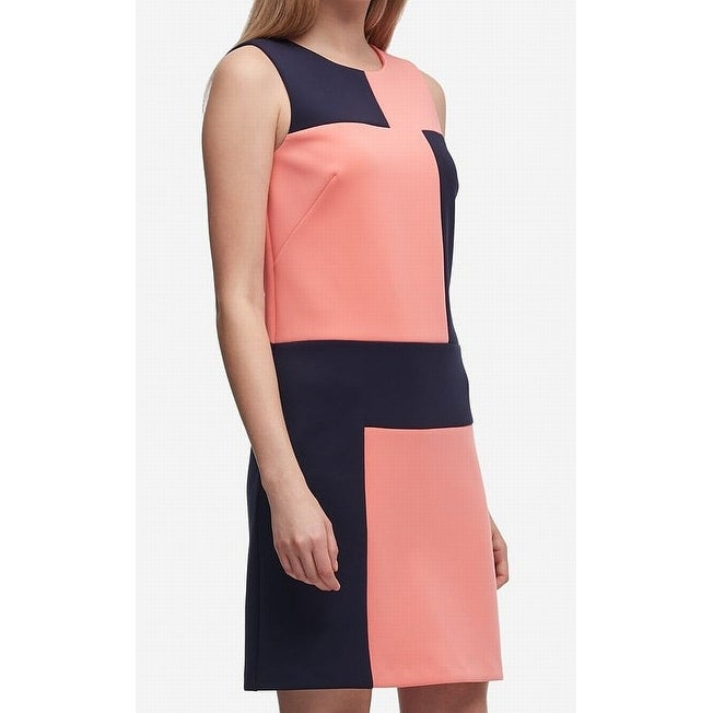 a886ee24433 Shop DKNY Navy Blue Womens Colorblocked Scuba Shift Dress - On Sale - Free  Shipping On Orders Over  45 - Overstock - 27037995