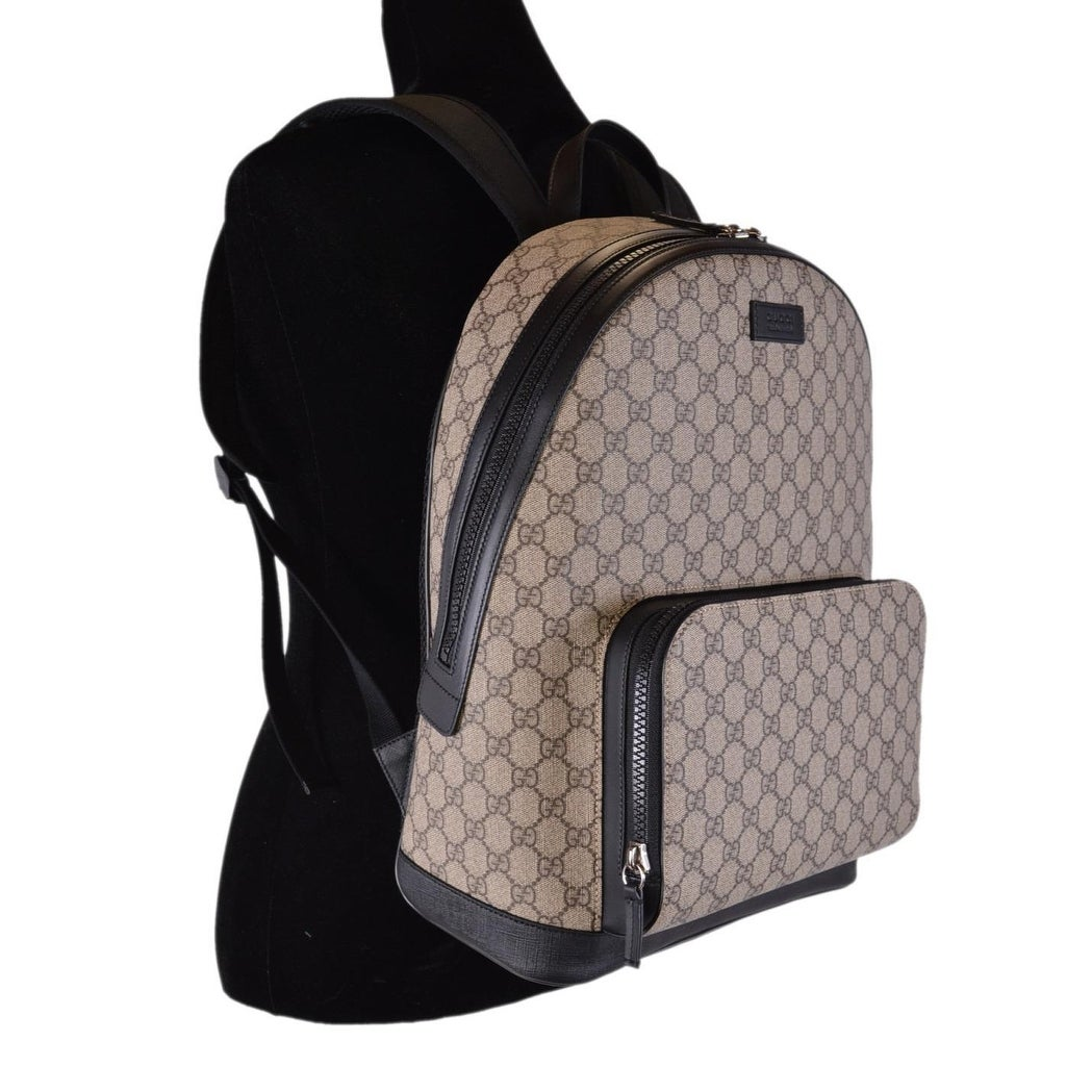 40be05b8bd1d31 Shop Gucci Beige Black GG Guccissima Supreme Canvas Backpack Rucksack Bag -  Beige/Brown - Free Shipping Today - Overstock - 25662389