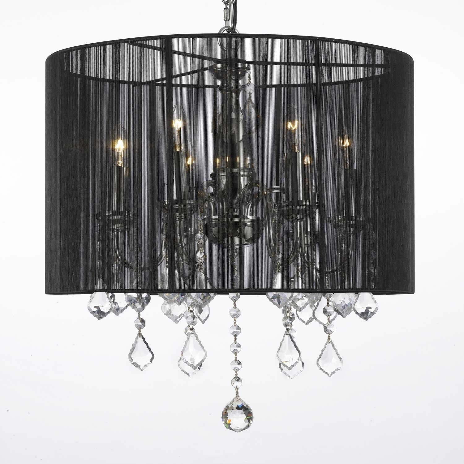 Crystal Swag Plug In Chandelier Lighting With Shade & 14 Feet