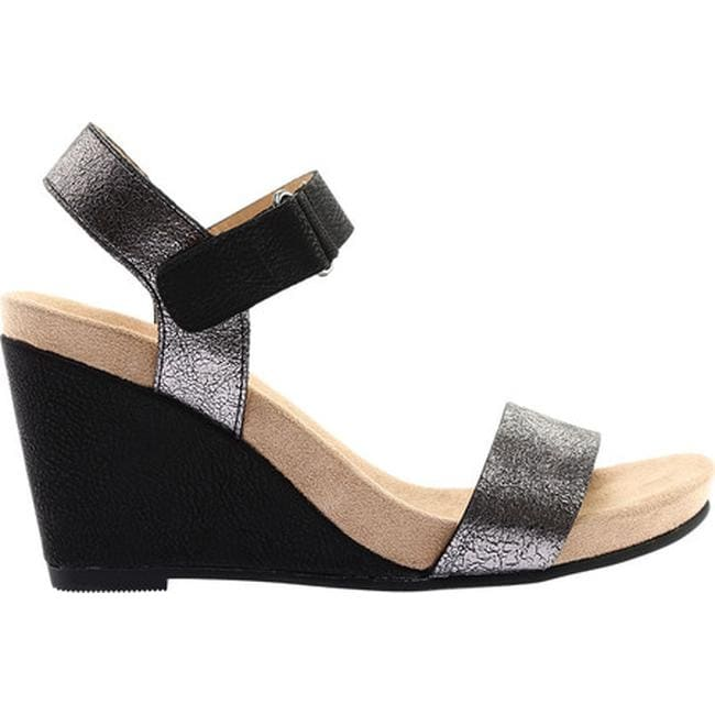 aeede4b38d4e Shop Chinese Laundry Women s CL Trudy Wedge Sandal Masai Shimmer Rocky  Gunmetal Black Synthetic - On Sale - Free Shipping On Orders Over  45 -  Overstock - ...