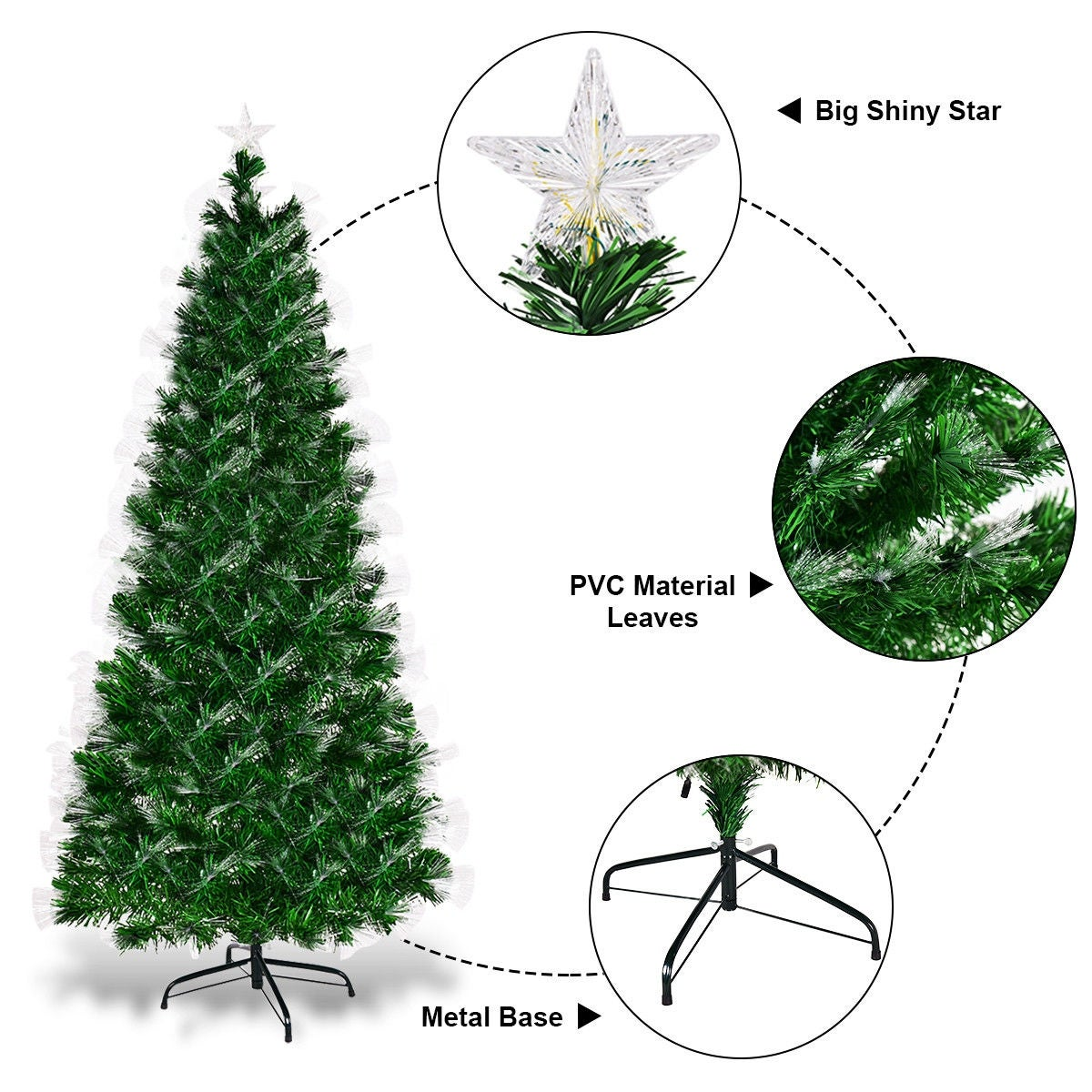 5d2f5b9833f Shop Costway 6FT Pre-lit Fiber Optic Artificial Christmas Tree w  Multi- color Lights   Stand - Green - Free Shipping Today - Overstock - 18180801