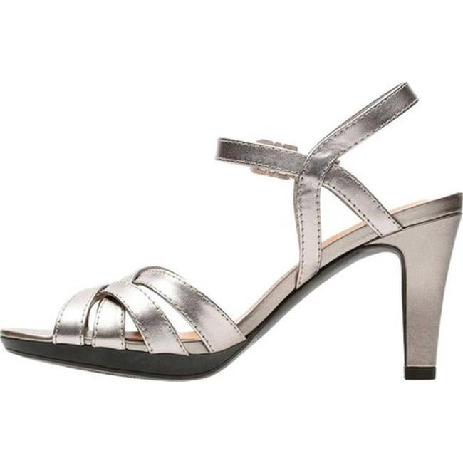 5adcfad36dd Shop Clarks Women s Adriel Wavy Heeled Sandal Pewter Full Grain Leather -  On Sale - Free Shipping Today - Overstock - 27346861