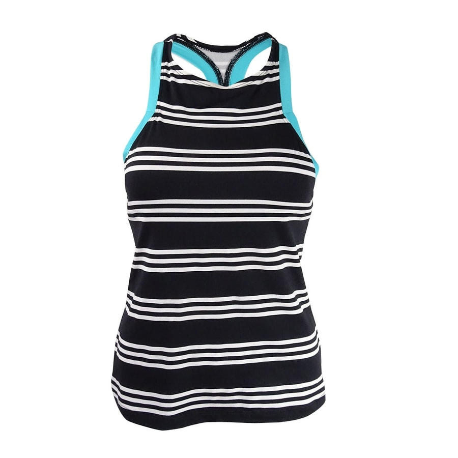 0e98f8b5c111a Shop Jag Women's Harbour Stripe High-Neck Racerback Tankini Top - Black/Noir  - Free Shipping On Orders Over $45 - Overstock - 21135618