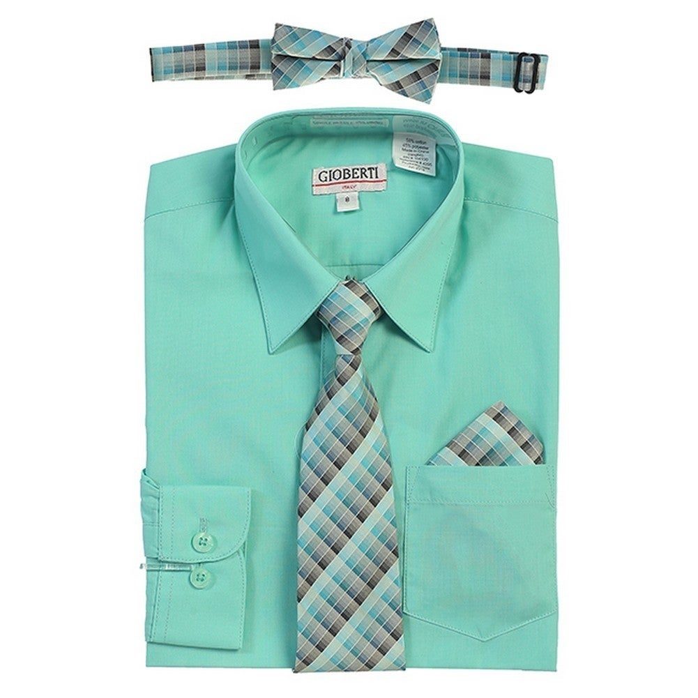 Shop Gioberti Little Boys Mint Tie Bow Tie Handkerchief Dress Shirt