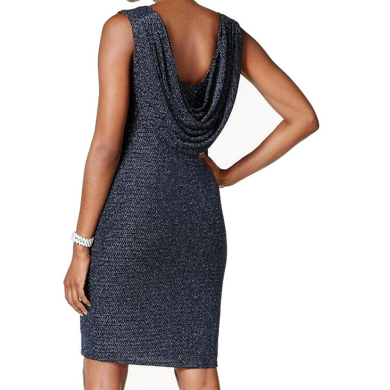 7bf0dcde62c8 Shop Jessica Howard Black Blue Womens Size 16 Metallic Drape-Back Dress -  Free Shipping On Orders Over $45 - Overstock - 27063054